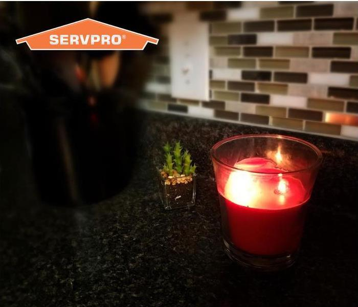 candle on kitchen counter
