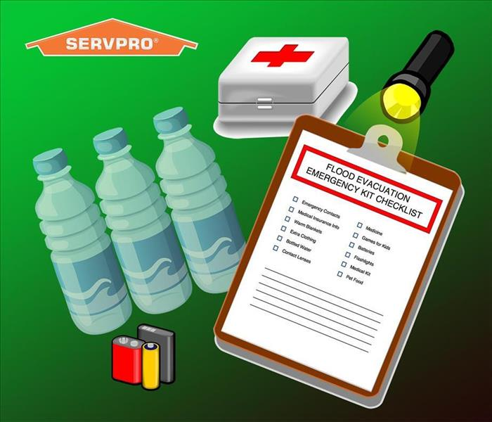 green background with cartoon water bottles and clipboard